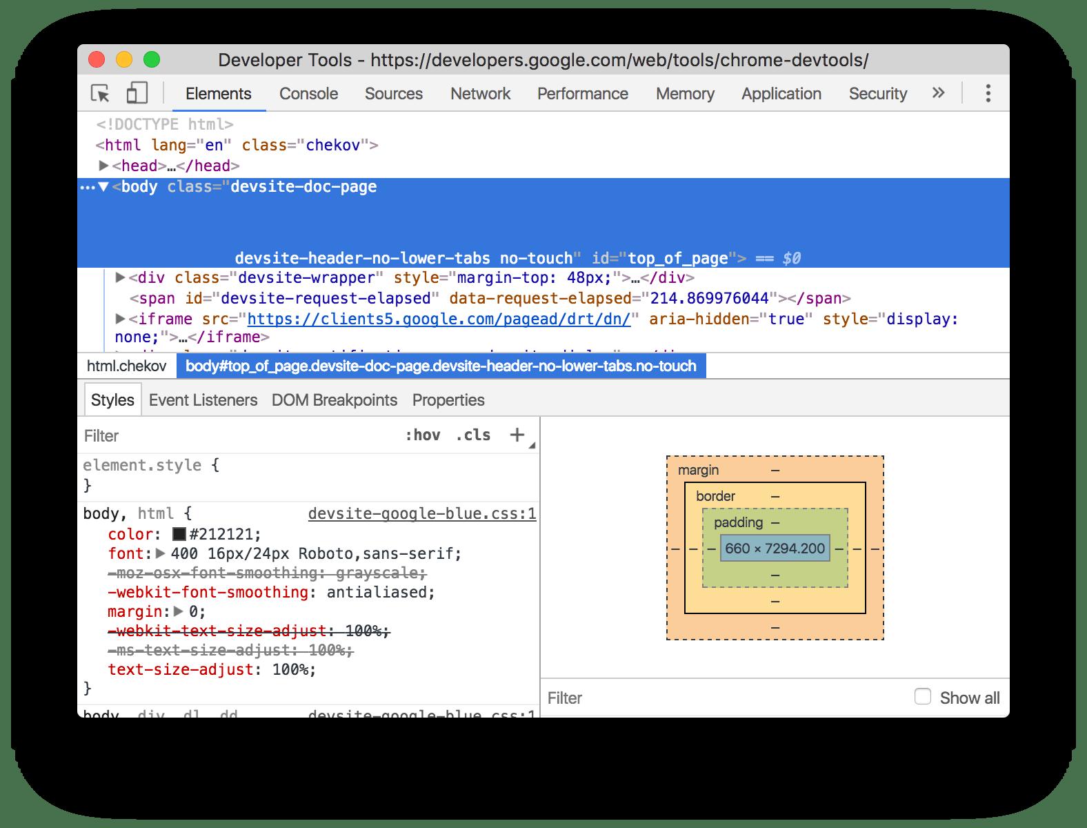 Chrome dev tools screenshot