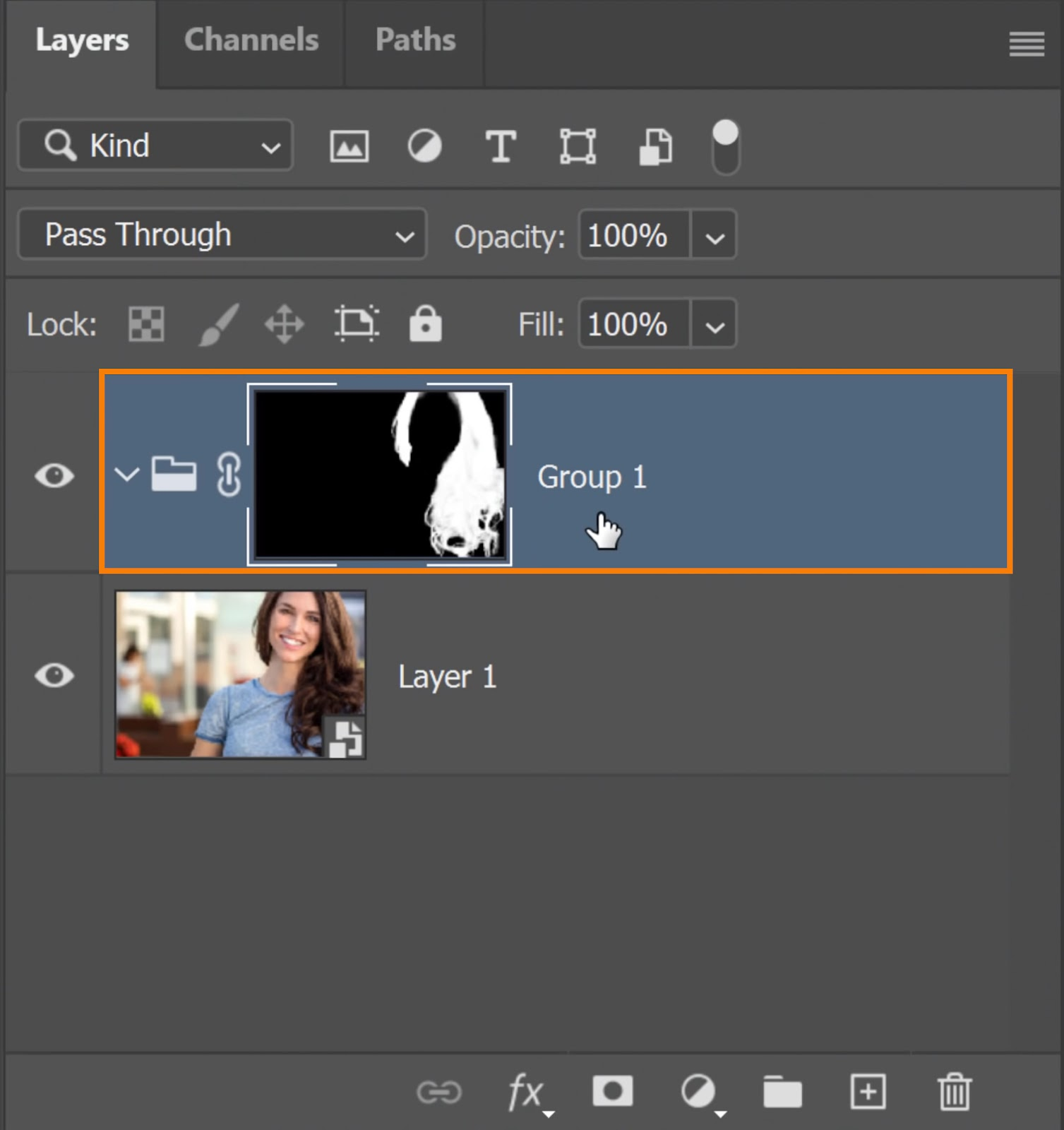 click on the New Layer Mask icon to apply the Layer Mask that group