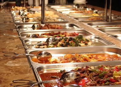 Rich buffet in restaurant Thai Delikates