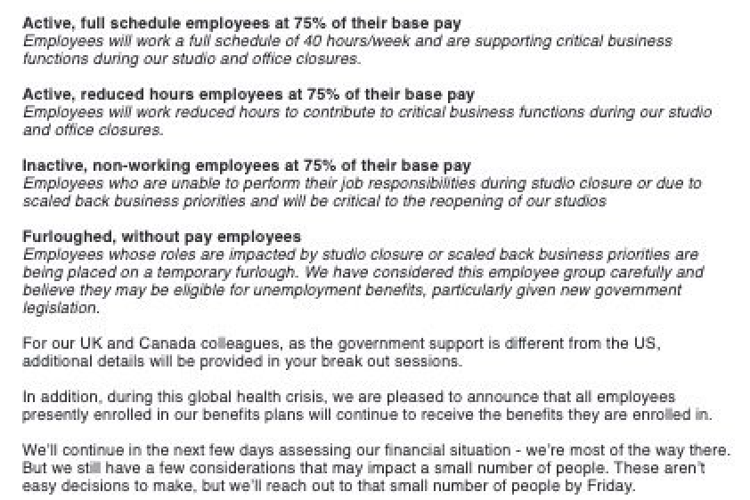 Screenshot: an internal memo provided to VICE describing pay cuts and furloughs for SoulCycle employees