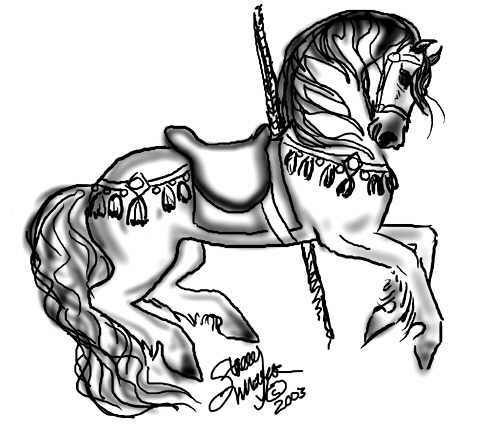 Stacey mayer 39 s free online coloring pages for Carousel horse coloring page