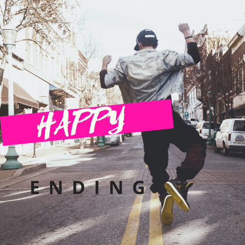 Person celebrating a happy ending.