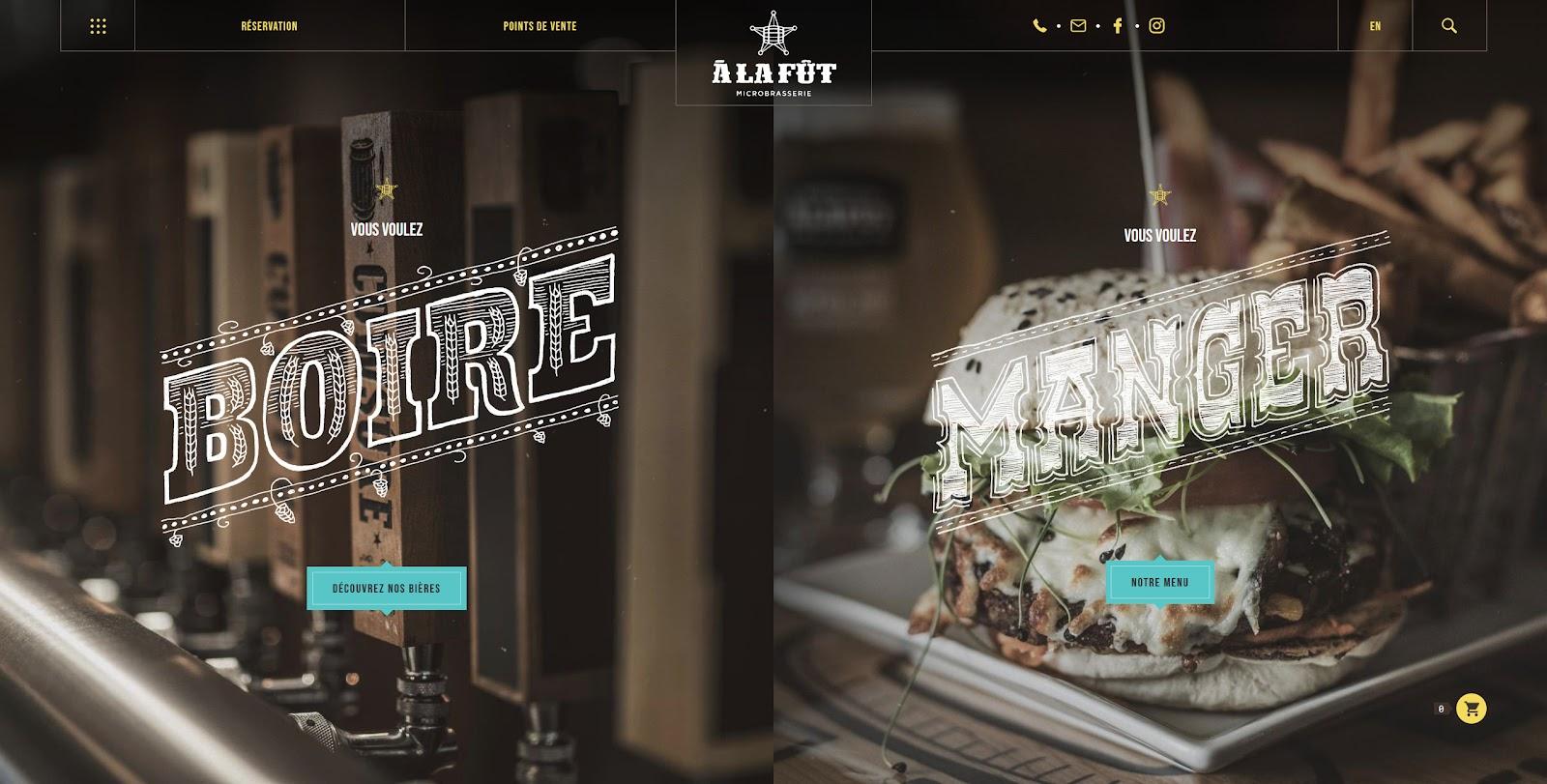 """Home Page de """"A la fût"""" optant pour un design sombre, avec des visuels mélangeant dessin, grandes typographies, couleurs vives et pétantes. Ce site réunit toutes les tendances webdesign 2021."""