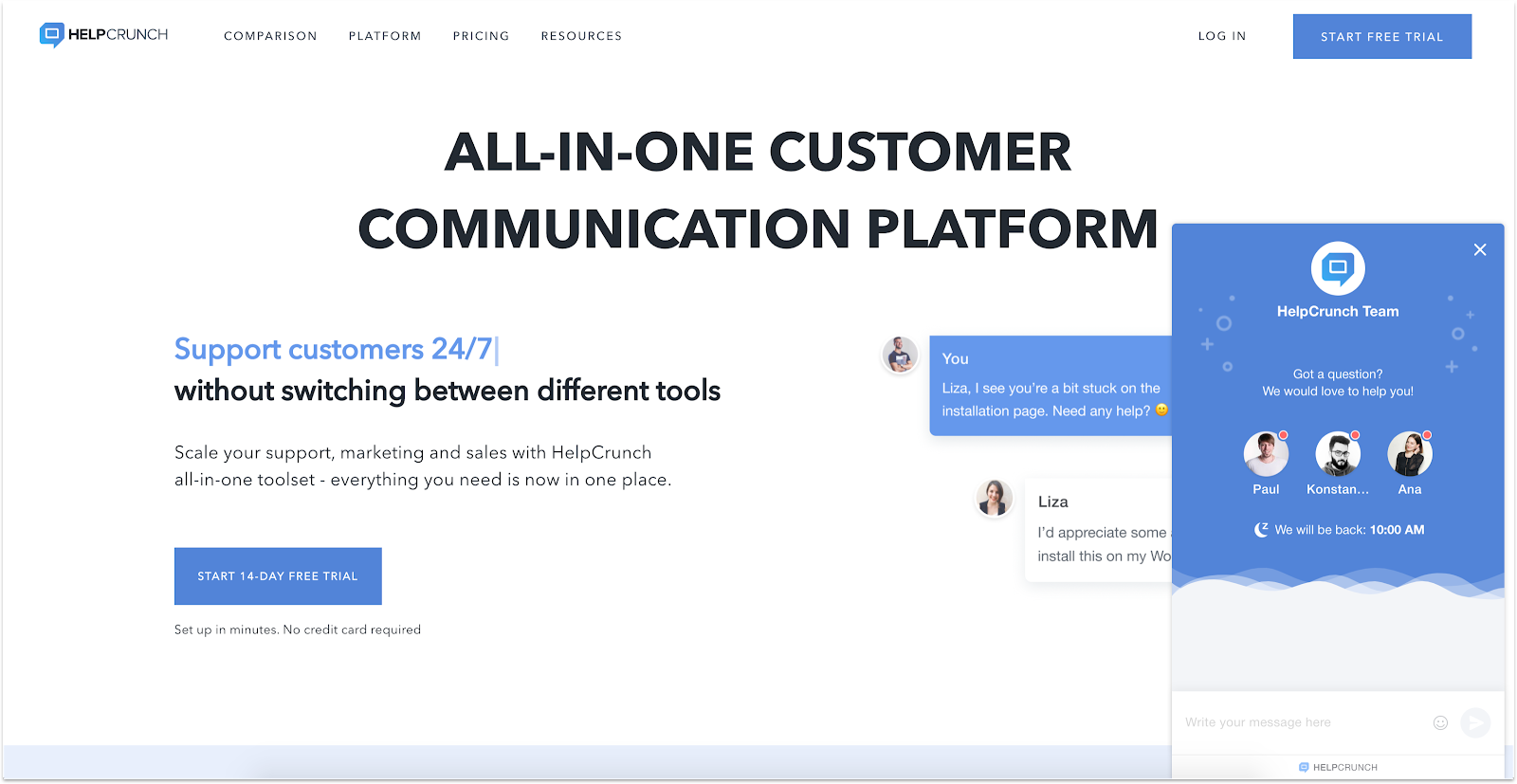 HelpCrunch's live chat app in action on their company website