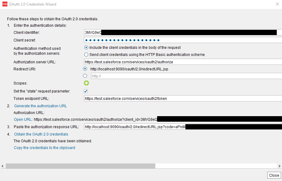 OAuth authentication using the Salesforce REST Custom