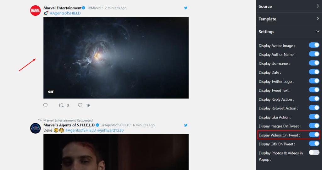 Display videos on Tweet