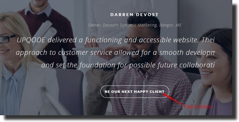 how you can implement a call-to-action like a button to the testimonial section Dental Website Design