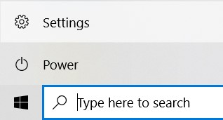 The Windows Settings in the Start Menu