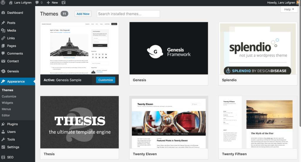 Gérer les thèmes WordPress