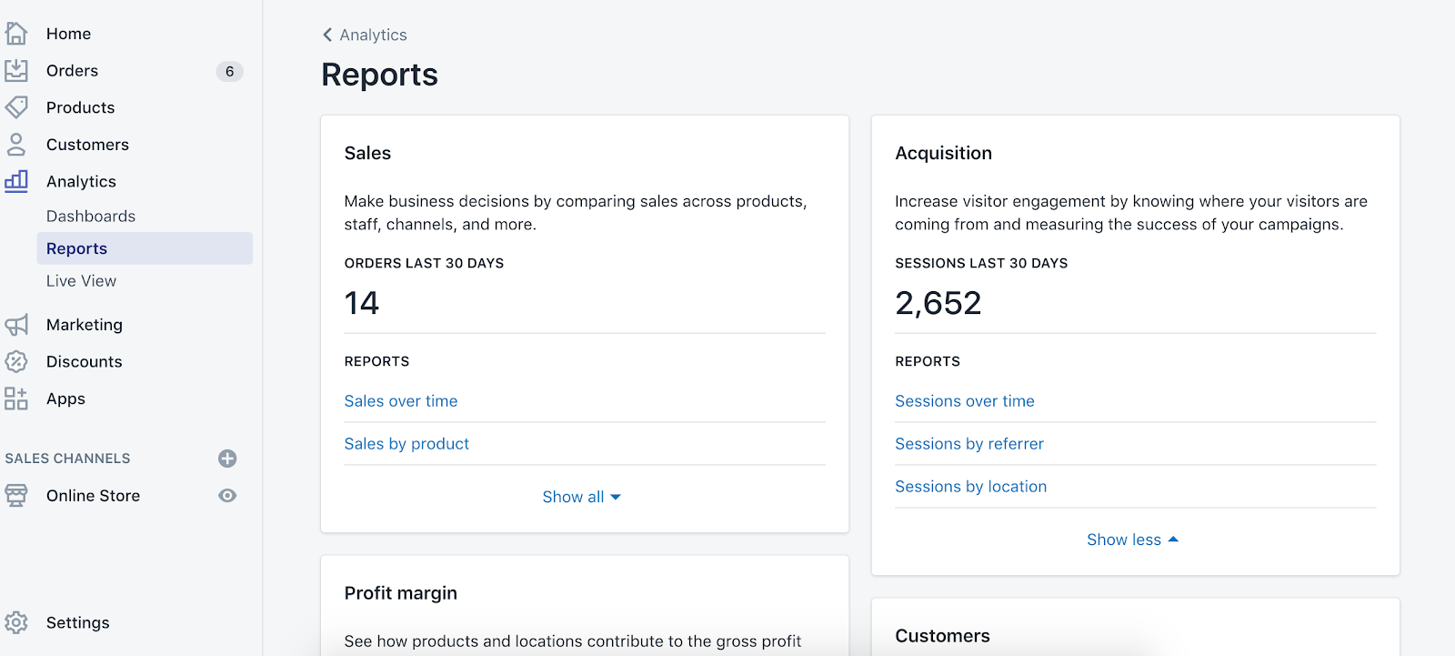 Acquisition reports in Shopify dashboard