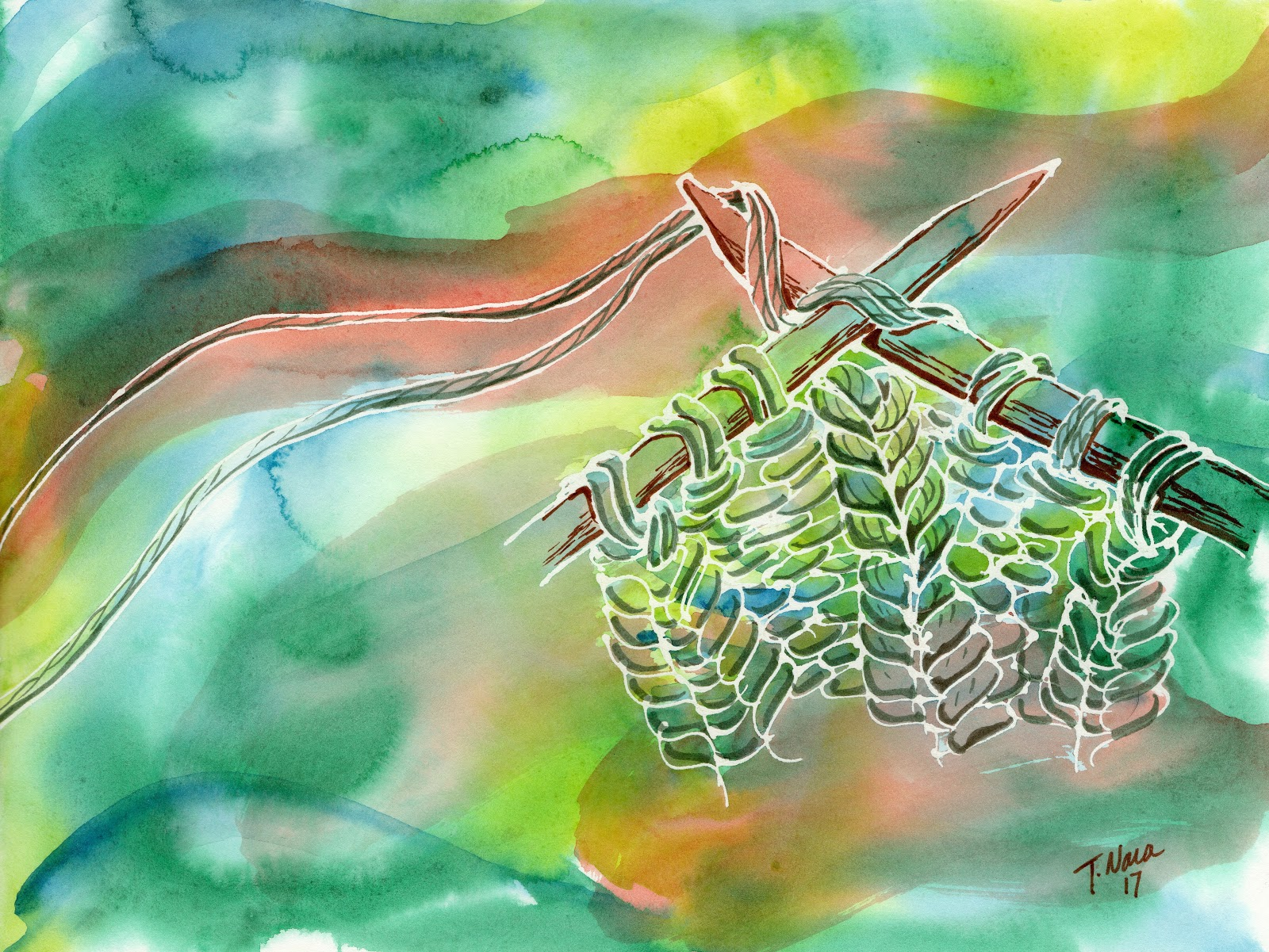 green and orange abstract painting of knitting needles