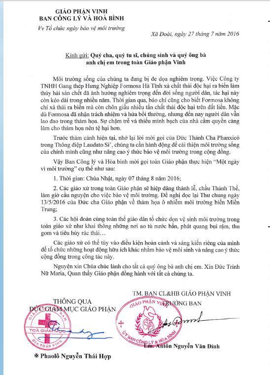 Văn thư của Ban Công lý & Hoà bình Giáo phận Vinh