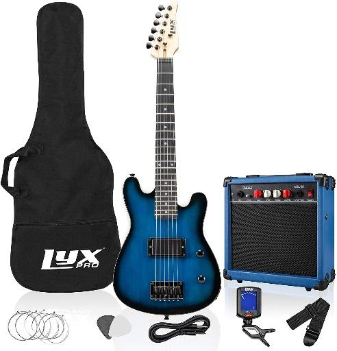 A blue electric guitar  Description automatically generated with low confidence