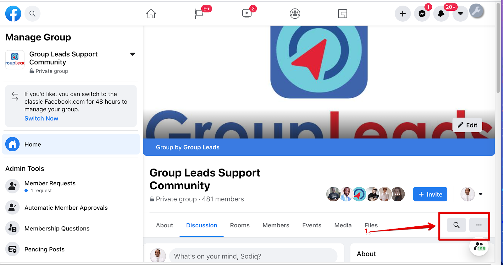 How do I search Facebok group posts