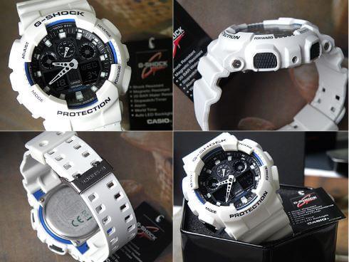 Mặt đen đồng hồ casio g-shock ga-100b-7a nổi bật trên nền dây đeo trắng lỳ