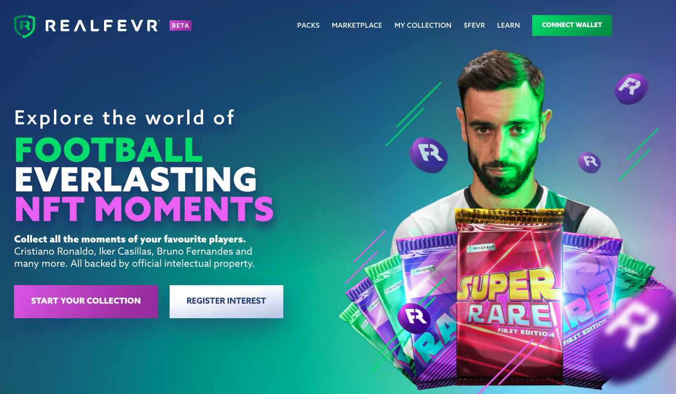 RealFevr Soccer NFT Moments Homepage