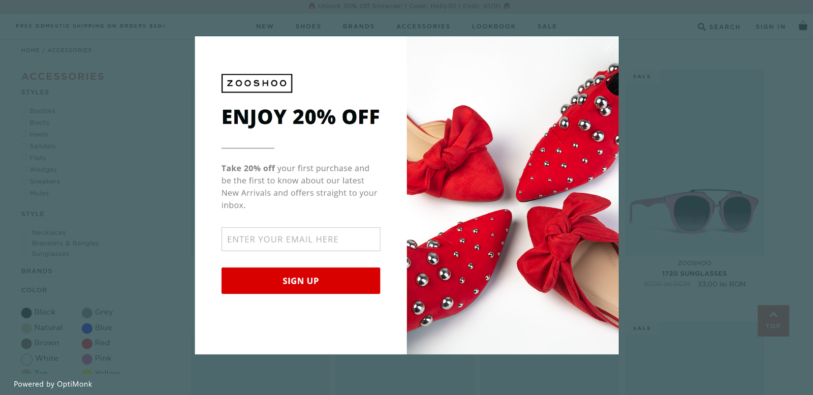 Enticing discounts in exchange for newsletter sign-ups