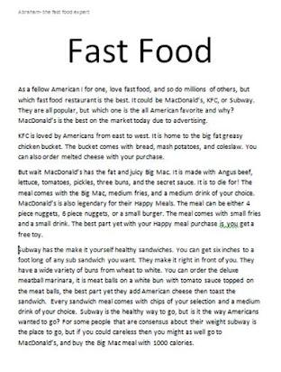 Fast food disadvantages essay in tamil