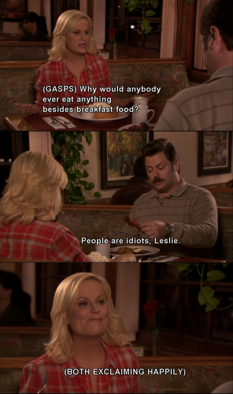 parks and rec breakfast food quote
