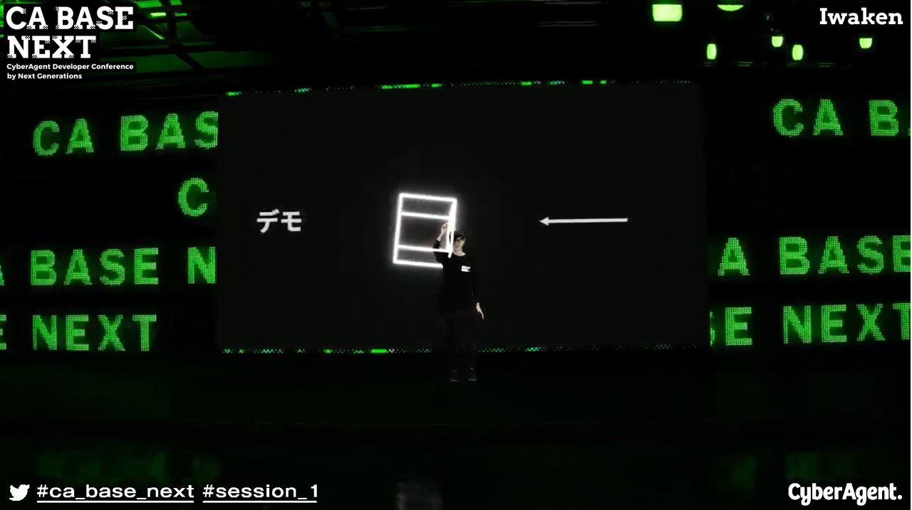 合成写真: CG空間と合成された人間がCGの白いCubeを操作しています