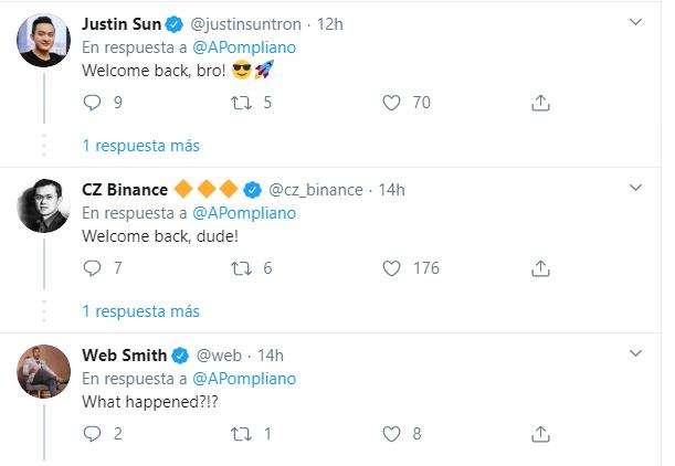 Algunos pesos pesados del mundo de las criptomonedas echaron de menos a Pompliano en las horas que no estuvo disponible en Twitter.