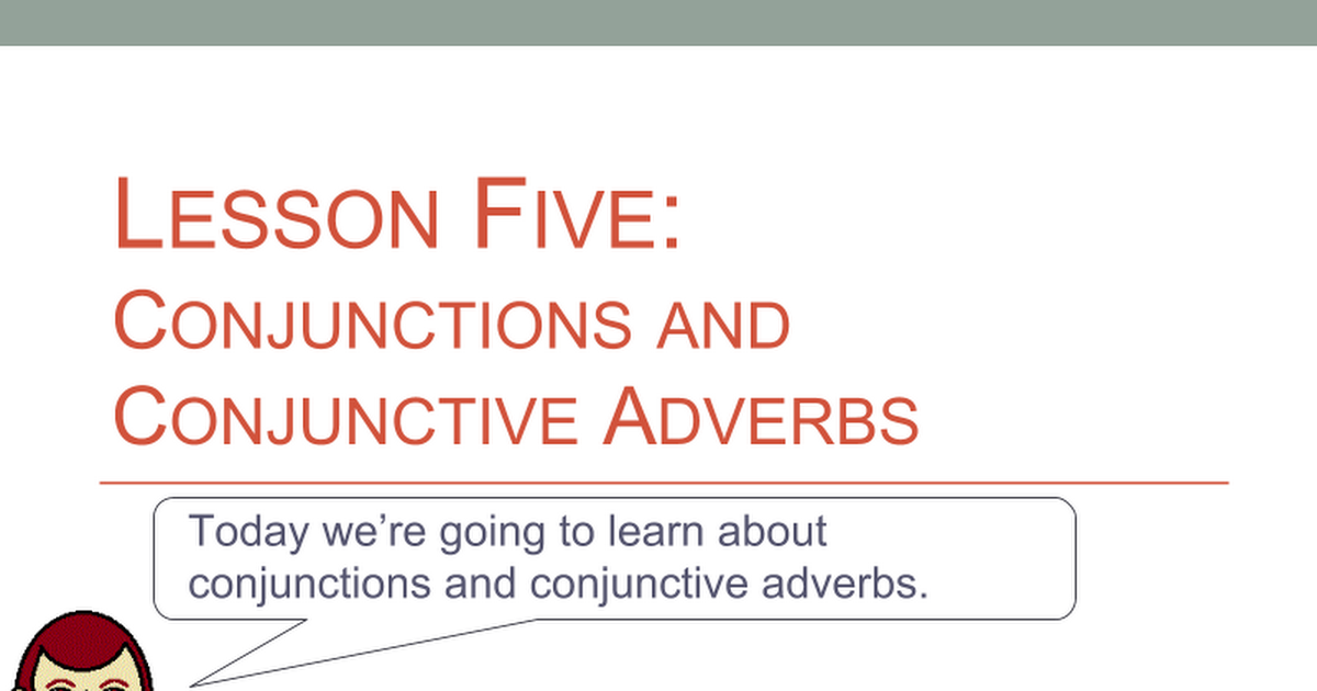 conjunctions and conjunctive adverbs google slides