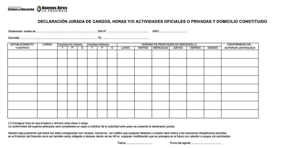 Declaracion Jurada de Cargos 2014.xls - Google Drive
