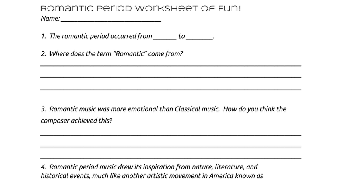 Romantic Period Worksheet Google Docs – Composer Worksheets