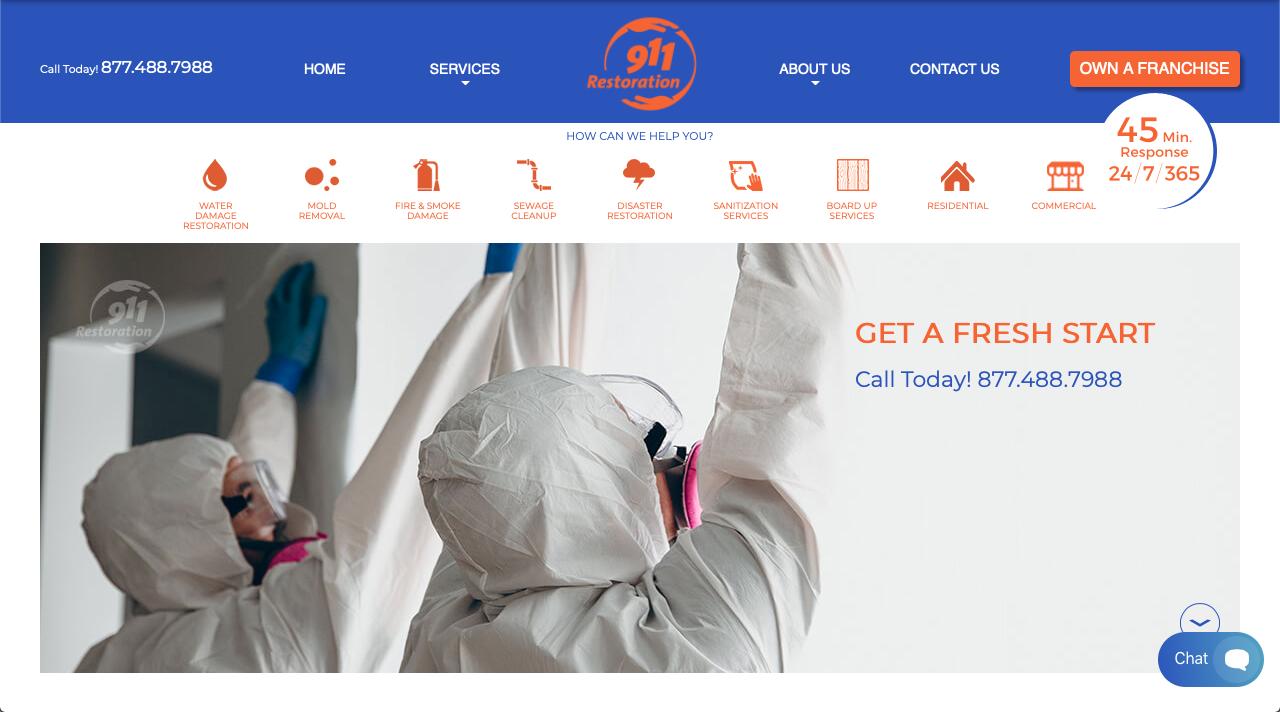 911 restoration franchise website homepage