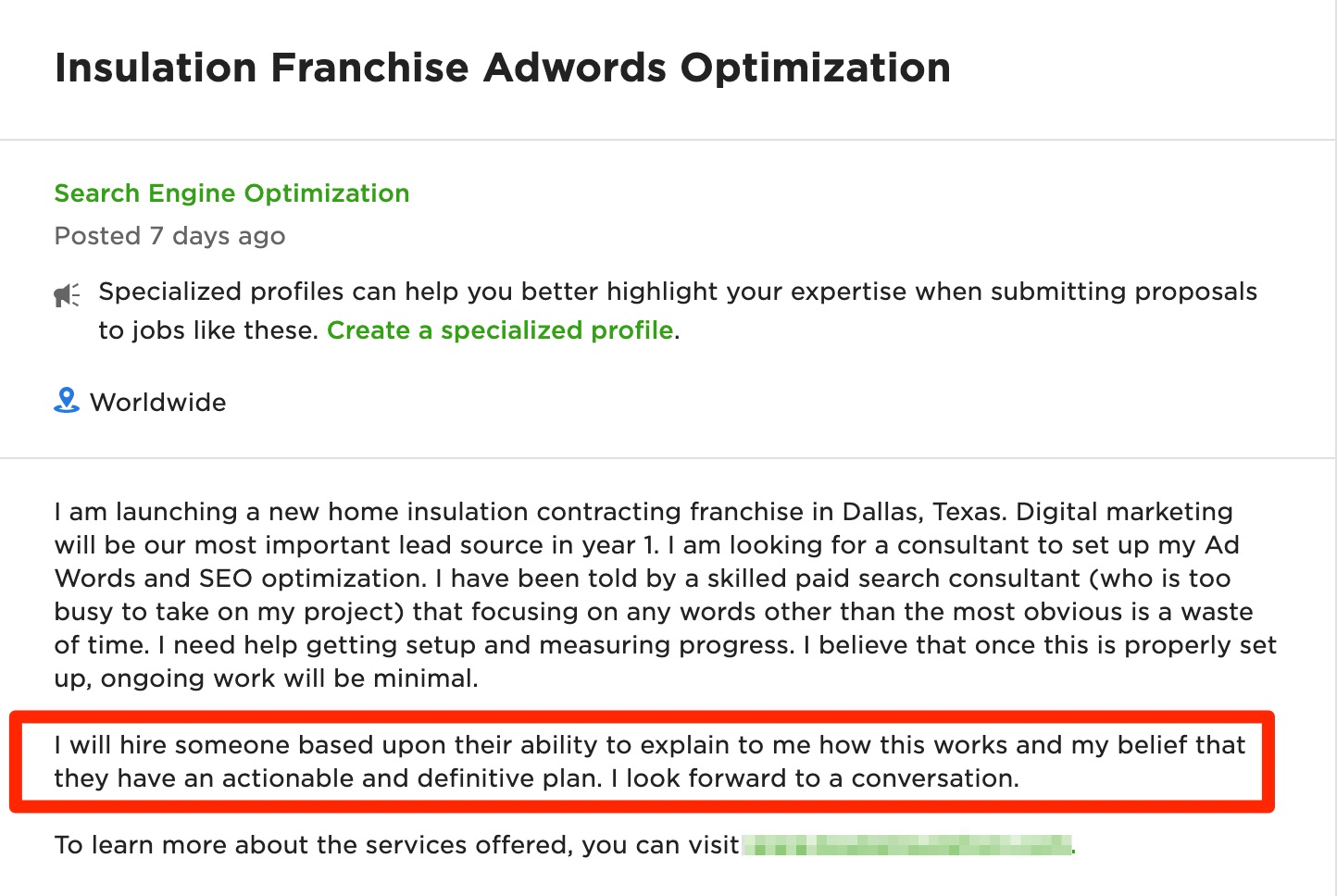 what questions do you have about the project - Upwork job description example