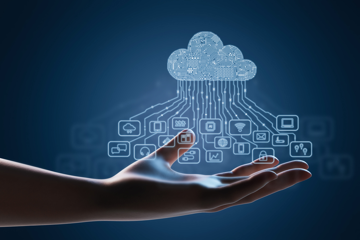 Visualization of a cloud and the many items stored on it, underlining the importance of deciding what to store when migrating to cloud storage.