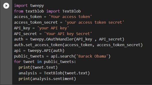 importing tweepy from twitter api and performing sentiment analysis of barack obama's tweets