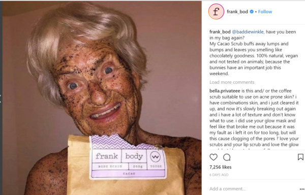 frank body coffee scrub instagram marketing conseils