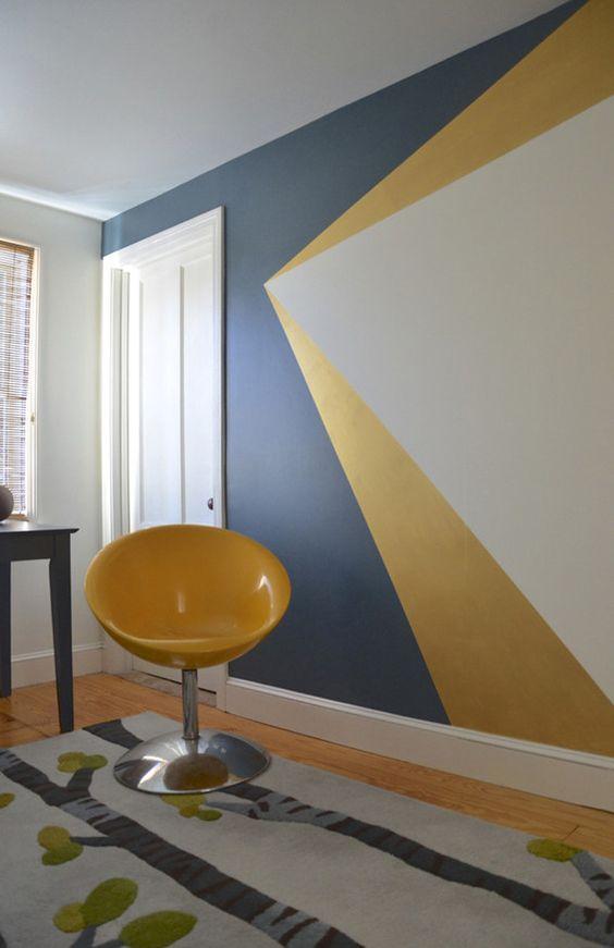 20 paredes geom tricas para sua casa um mundo em duas for Dessiner sur un mur peinture