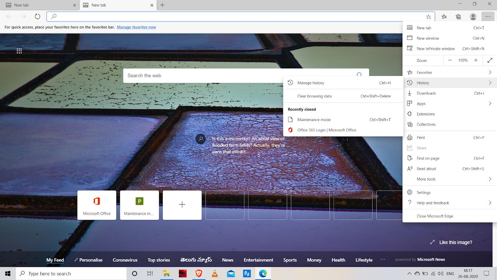 microsoft edge  restore the tab through history