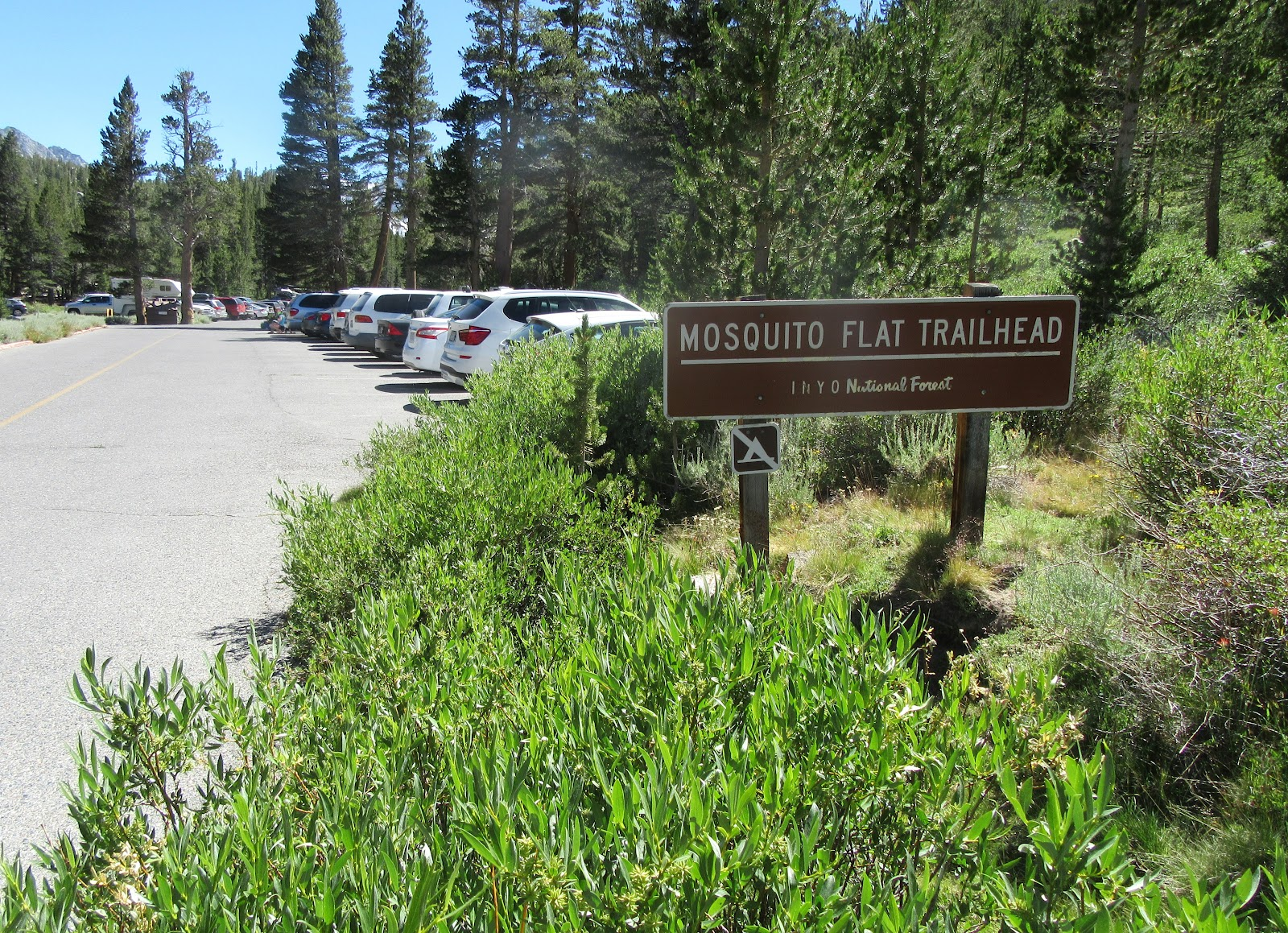 Mosquito Flat Trailhead sign at end of Rock Creek Road