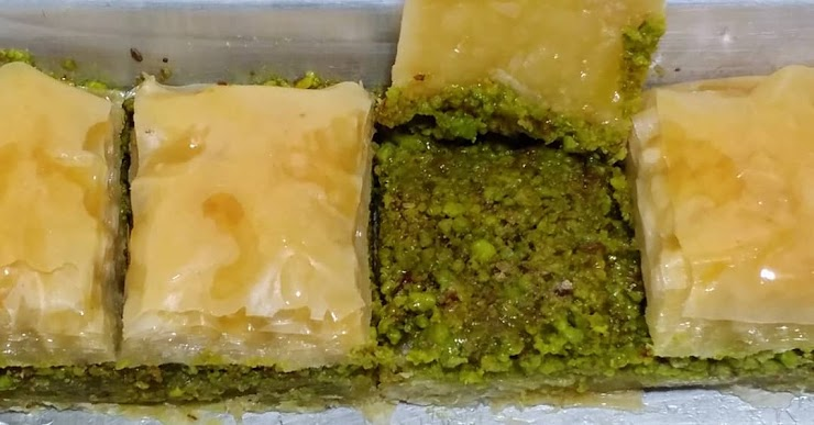 Baklava is made with rich amount of Pistachio that has strong flavor, light amount of sugar syrup (with no honey) and Plant-based butter.  (Vegan)
