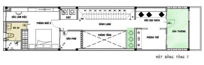 Mặt bằng công năng tầng 3 trong bản vẽ thiết kế nhà ống 3 tầng hiện đại