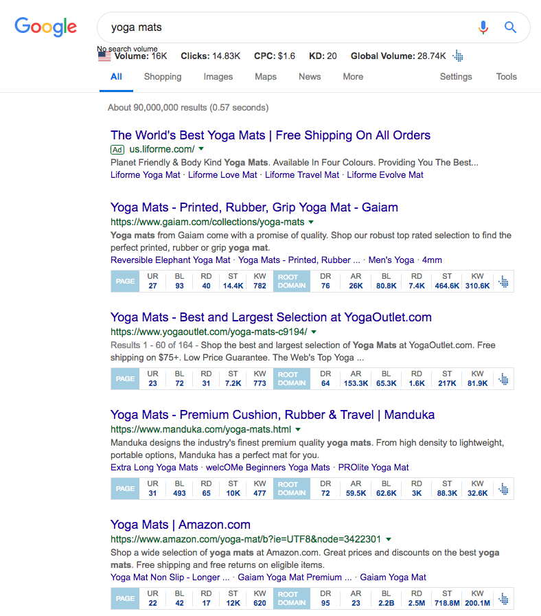 "A sample of what's displayed in a google search for ""yoga mats"". Proving that some outrank bigger sites like Amazon when they have a higher UR."