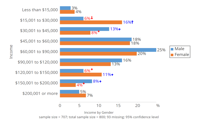 A bar chart depicting income by gender from less than $15,000 to $200,000 or more.
