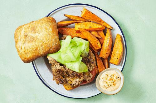 Beef Smash Burgers with Sweet Potato Fries