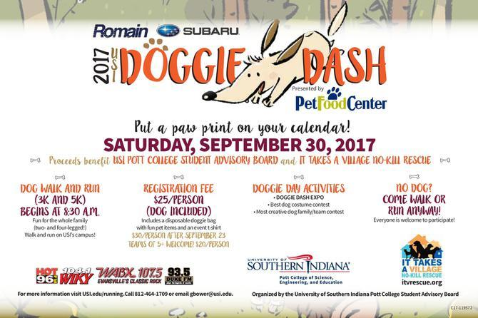 University of Southern Indiana Annual Doggie Dash Dog Walk and Run Fundraiser Flyer