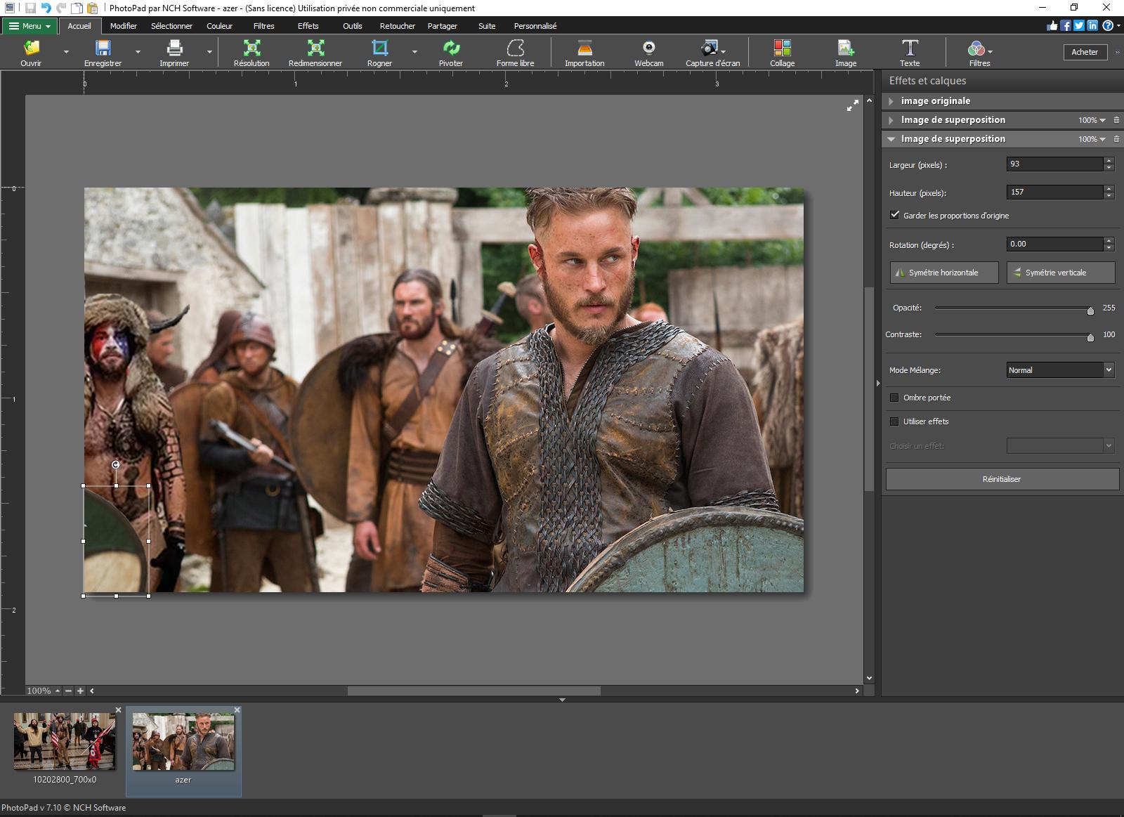 Le programme PhotoPad en utilisation, afin de visualiser les menus et les possibilités.
