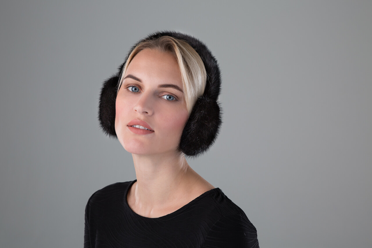 Mink Earmuffs with Halo Band in Black