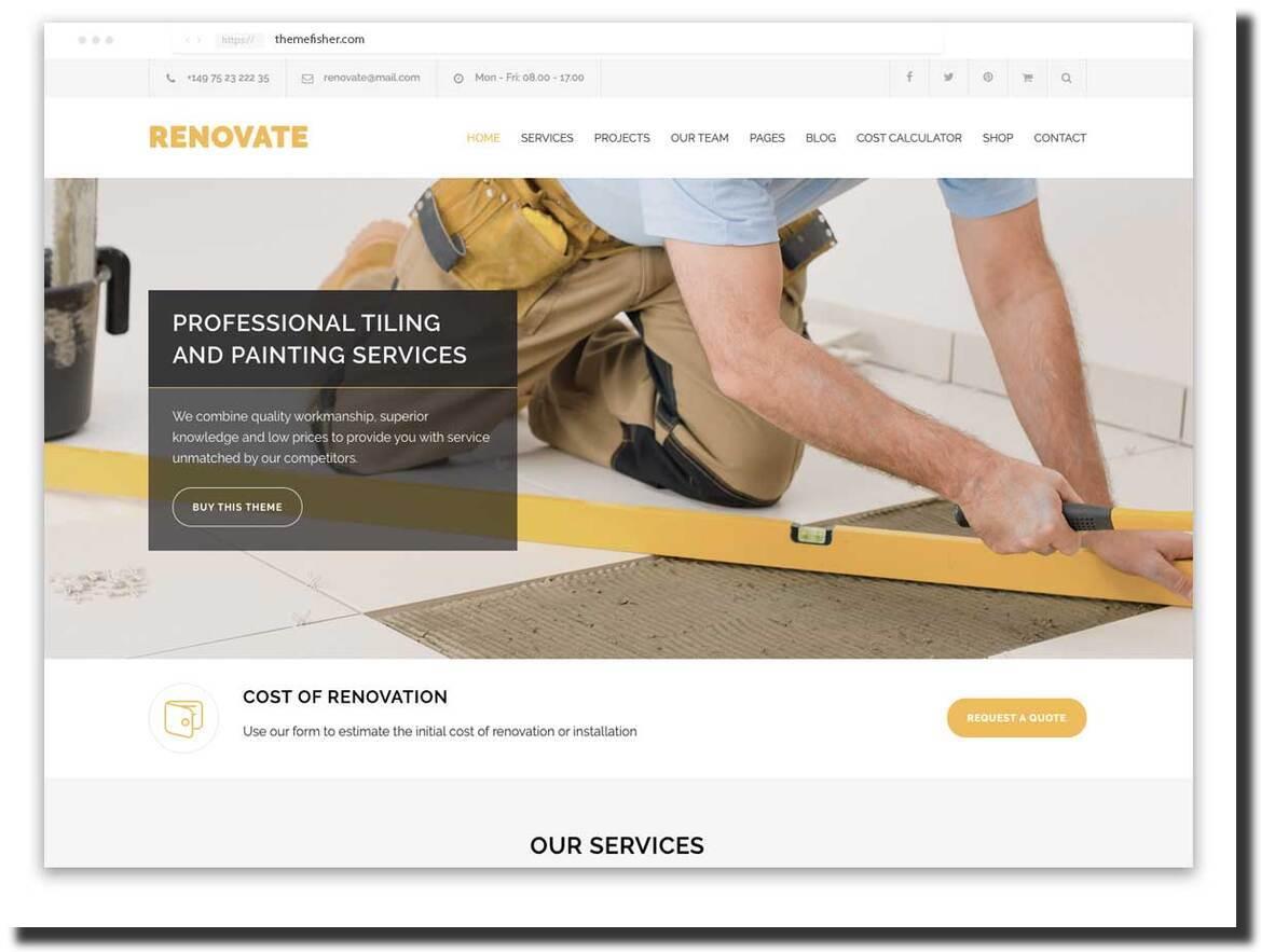 Renovate remodeling, construction, and renovation website design