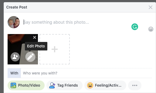 In the Create post section of Facebook, click the edit photo icon on the image.