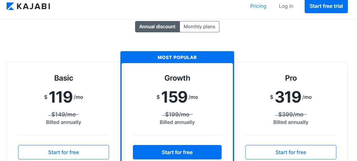 Pricing Page - Kajabi