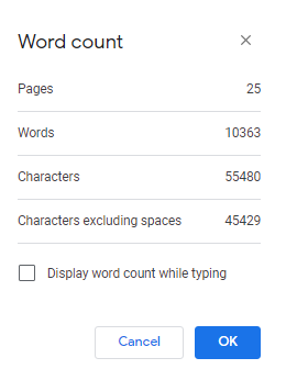 version one word count