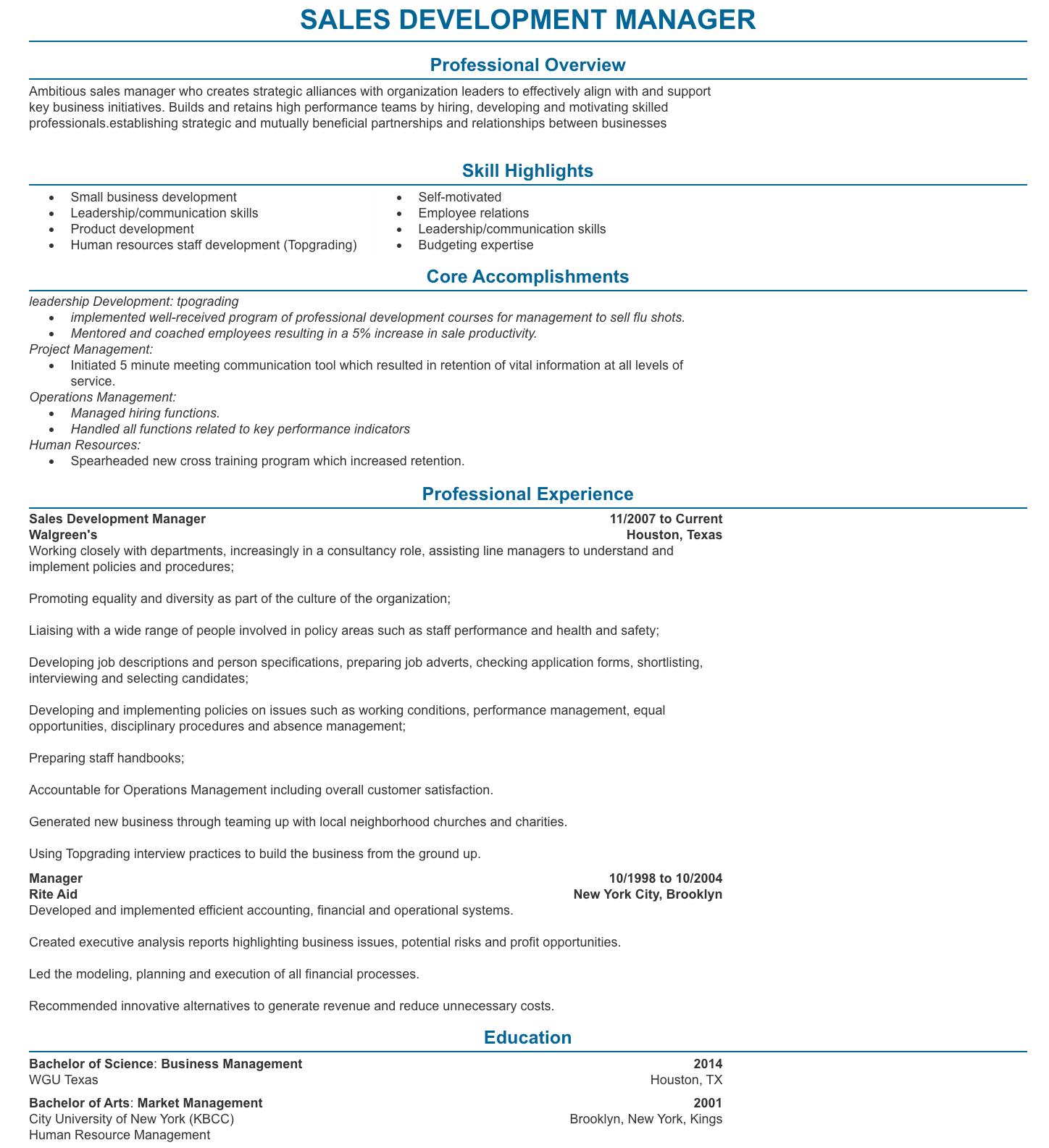 sales development manager resume exmaple