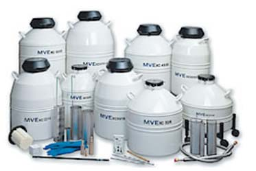 Liquid nitrogen semen storage tanks with different sizes, capacities and evaporation rates.